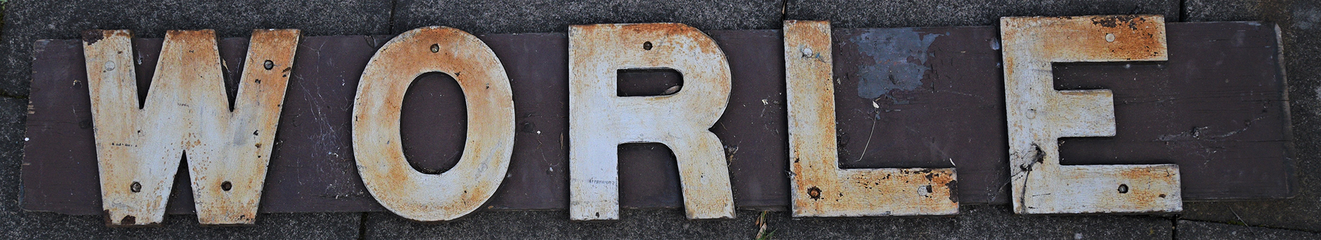 GWR Wooden running in board. Cast iron letters on wood. WORLE. Original recovered condition.