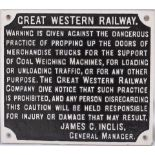 GWR Cast Iron Sign ref PROPPING UP DOORS Signed JAMES C INGLIS. Measures 14.25 in x 12.5 in.