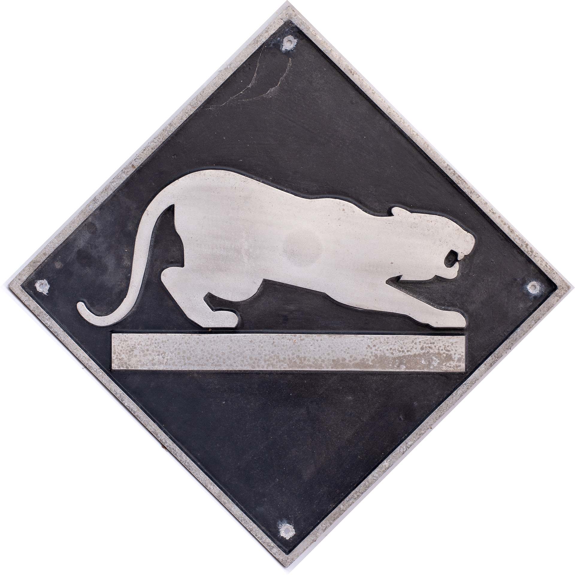 British Rail cast aluminium depot plaque for Leicester depicting the Panther. Square cast