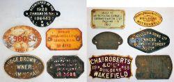 11 x cast iron Wagon plates. METROPOLITAN CAMMEL 1952, HURST NELSON & CO MOTHERWELL, WM RIGLEY &