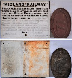 Midland Railway cast iron sign. TRESPASSERS WILL BE PROSECUTED, Alexis Charles 1899 together with