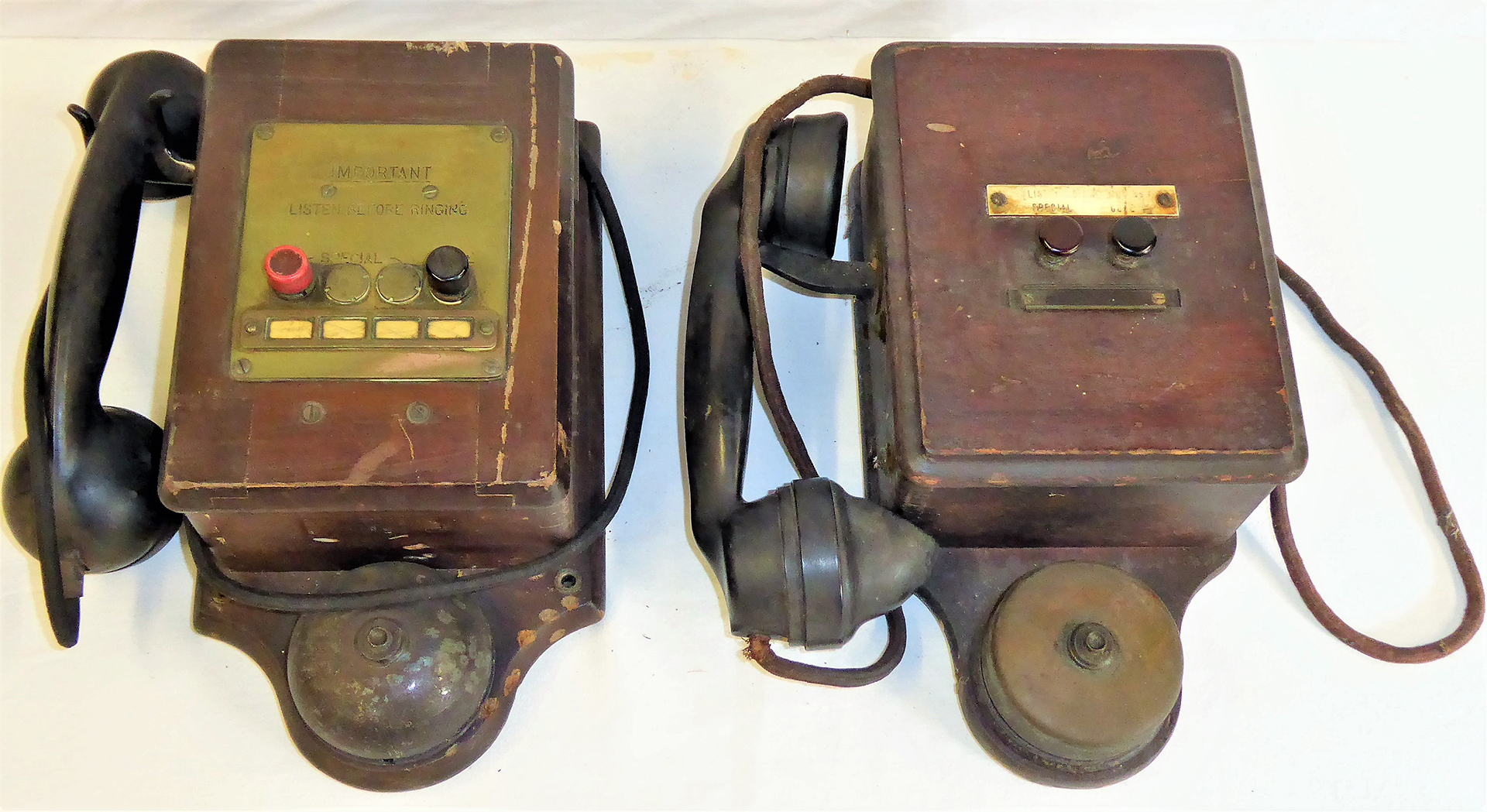 2 x WR two button telephones made by Ericson. Both complete in original condition.