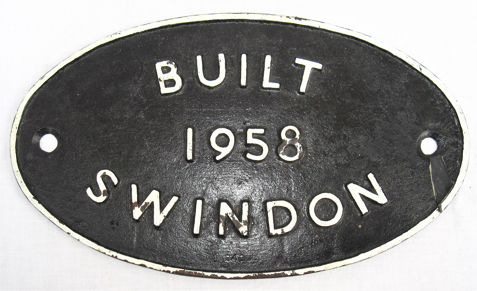 BR worksplate. Built 1958 SWINDON. Repair to right hand bolt hole