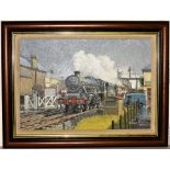 Oil Painting of LONG EATON by WARWICK RICHARDSON. Loco 45585 passing through station with train.