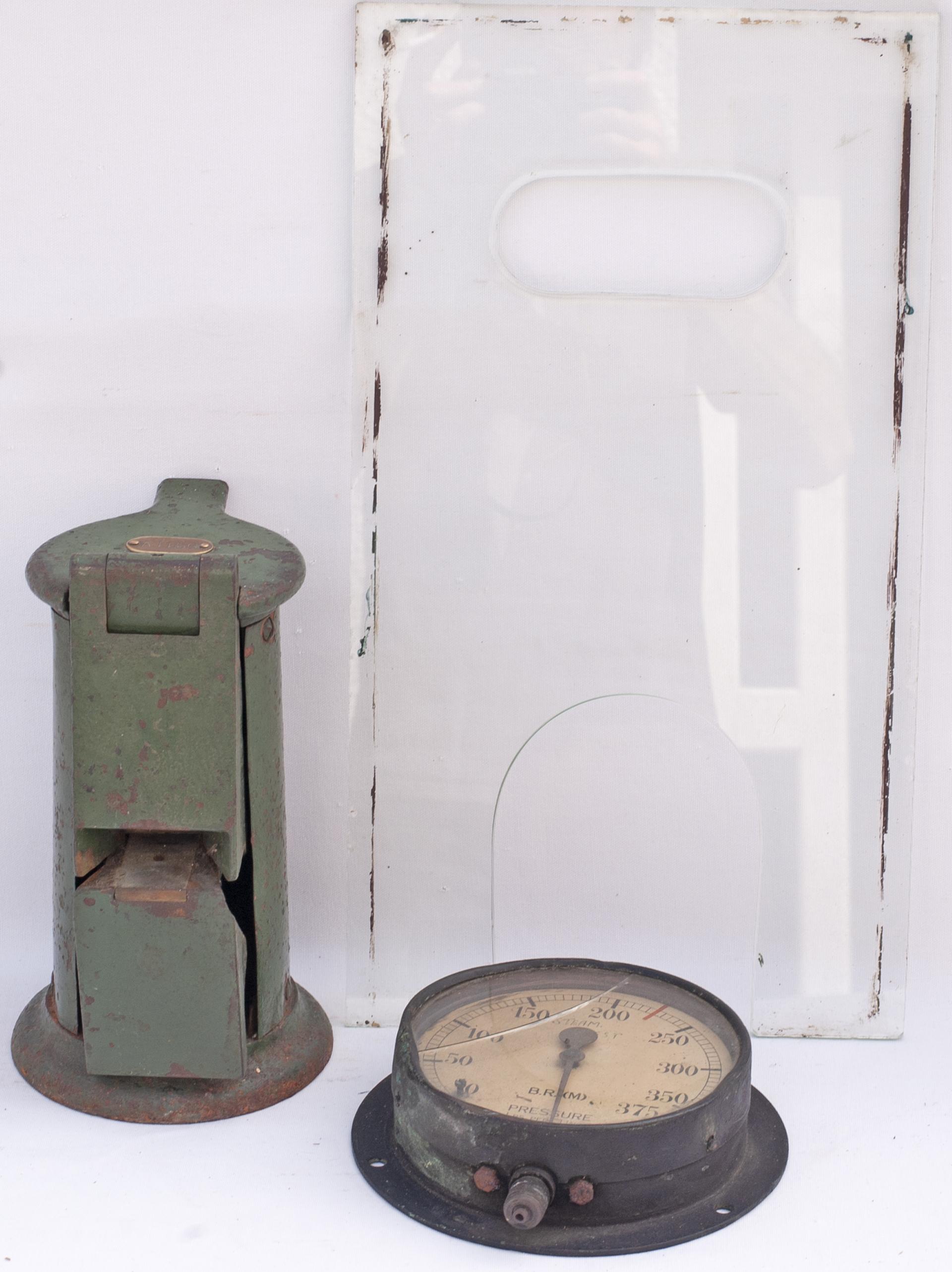 Ticket Window Glass ex BINEGAR STATION together with an Edmondson ticket dating machine plated A