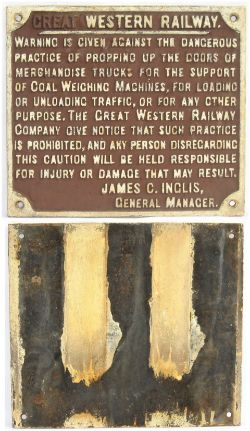 GWR Cast Iron Sign. WARNING IS GIVEN AGAINST THE DANGEROUS PRACTICE OF PROPPING UP THE DOORS - JAMES