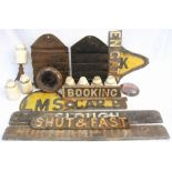 A Sundry Lot containing several miscellaneous items. Broken SHUT THIS GATE sign. Broken GWR