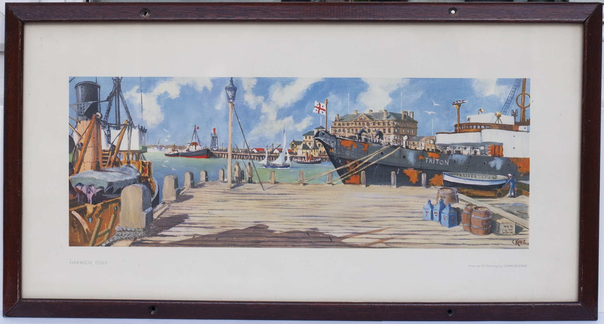 Carriage print HARWICH ESSEX by Charles King. In an original type glazed frame.