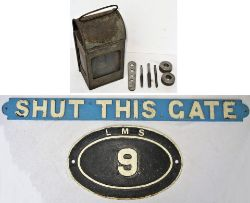 A Lot to include 4 x items. Cast iron LMS bridge plate 9. M&GNJR SHUT THIS GATE Sign repainted front