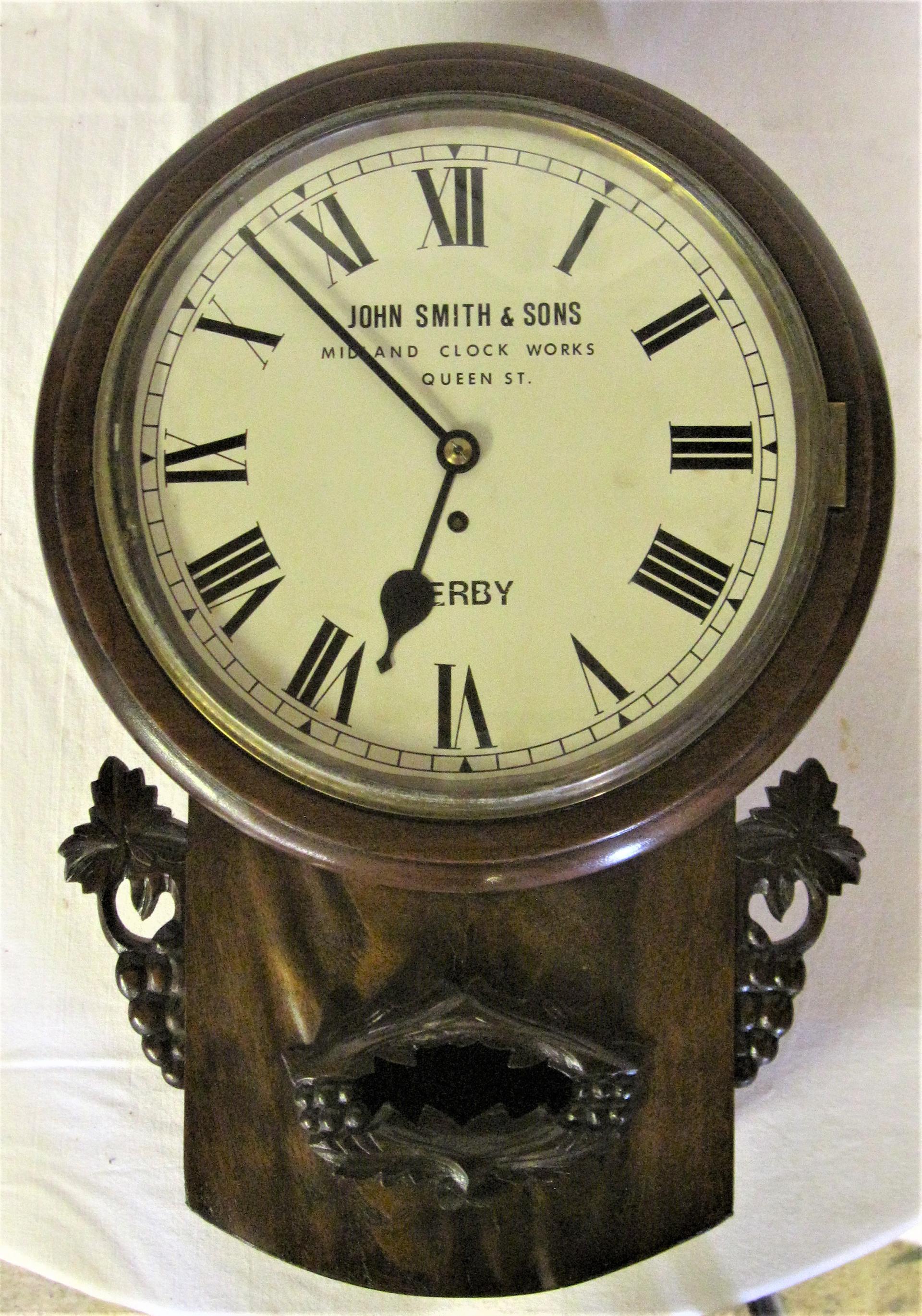Midland Railway Mahogany 12 inch Fuse clock. Restored dial with original dial underneath. MIDLAND