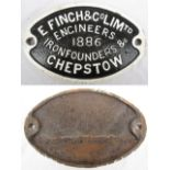 Cast iron makers plate. FINCH & Co ENGINEERS 1886 - CHEPSTOW.