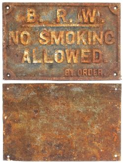 BR(W) Cast Iron Sign. NO SMOKING ALLOWED By Order. Good original condition and rarer than GW