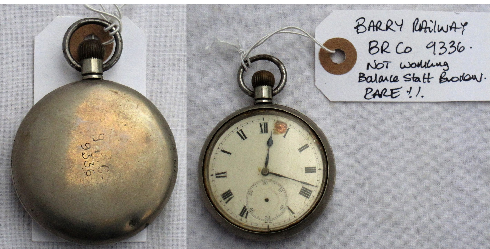 BARRY RAILWAY Guards Watch. Back engraved B.R.Co No 9336. Not working. Balance staff broken. A