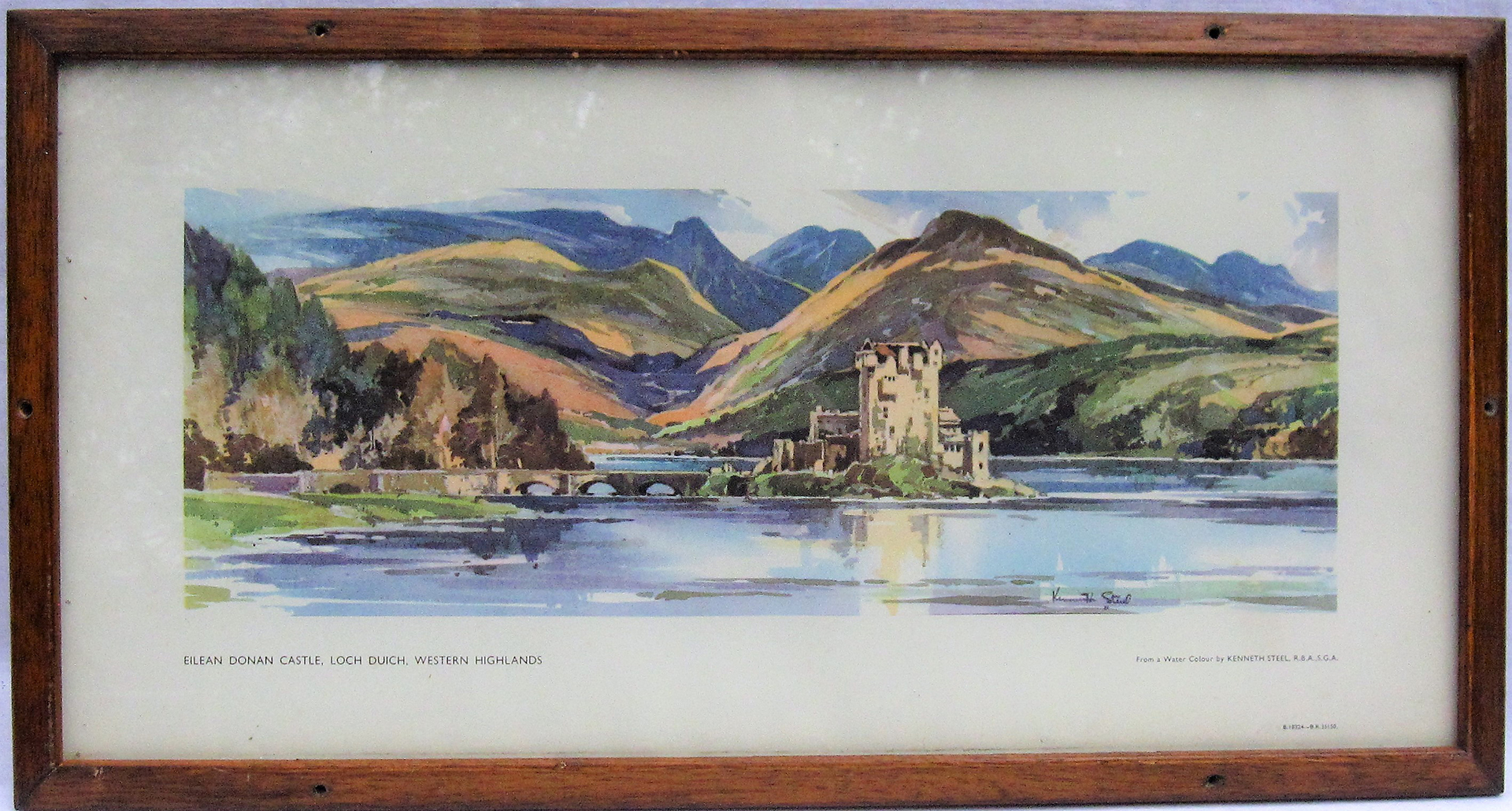 Framed and Glazed Carriage Print. EILEAN DONAN CASTLE by Kenneth Steel. Original type frame.