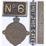 A collection of items; NO 6 cast brass numberplate, SHUT THIS GATE cast iron sign, ENGLISH