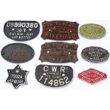 A collection of 9 WAGON PLATES to include GWR, SR, Chas Roberts etc.