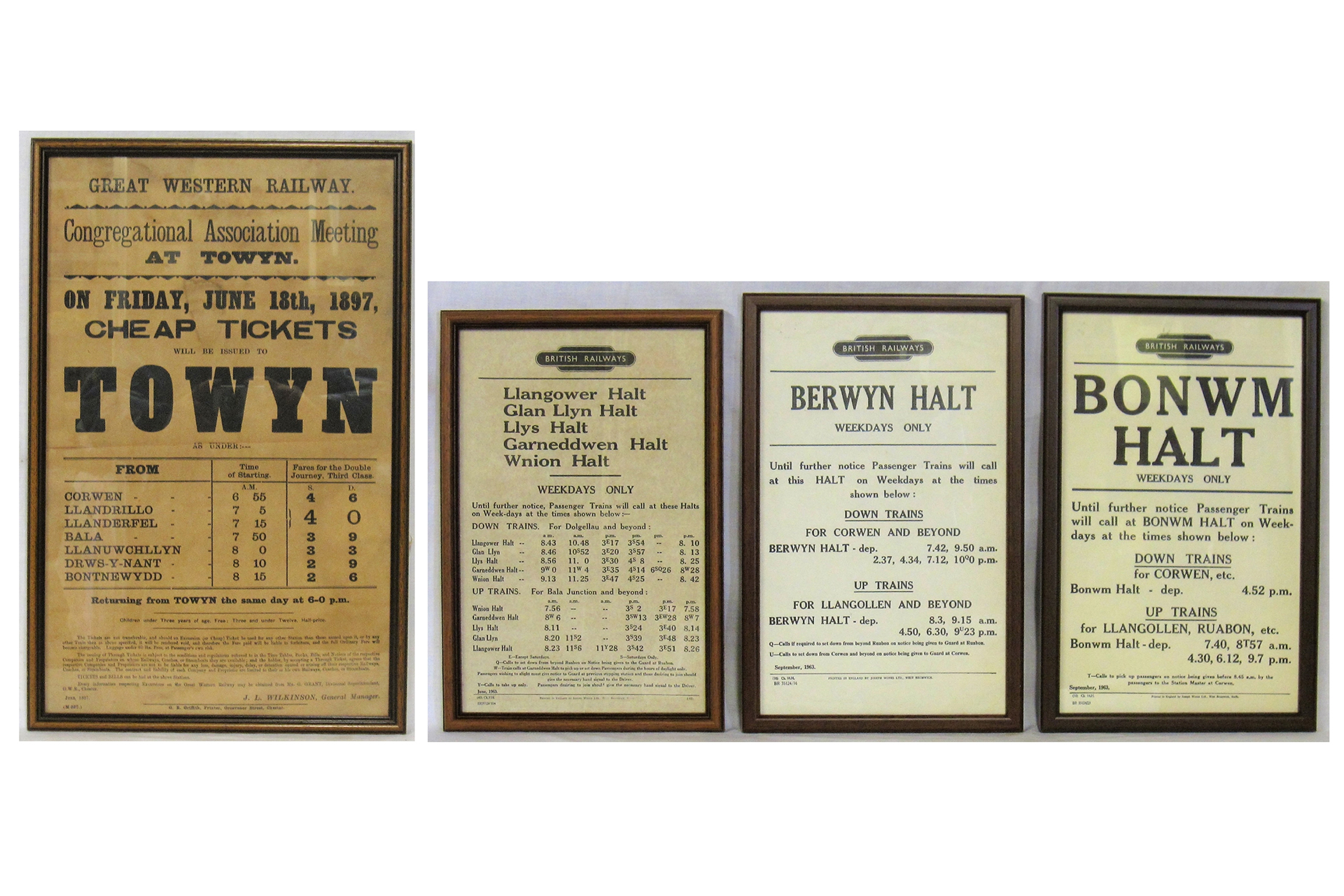 4 x Framed and glazed railway notices. 3 x BR 14 x 9 together with 1 x GWR 13 x 20.