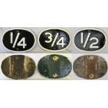 3 London & South Western Railway cast iron Mile markers 1/4 - 1/2 - 3/4 Repainted front only.