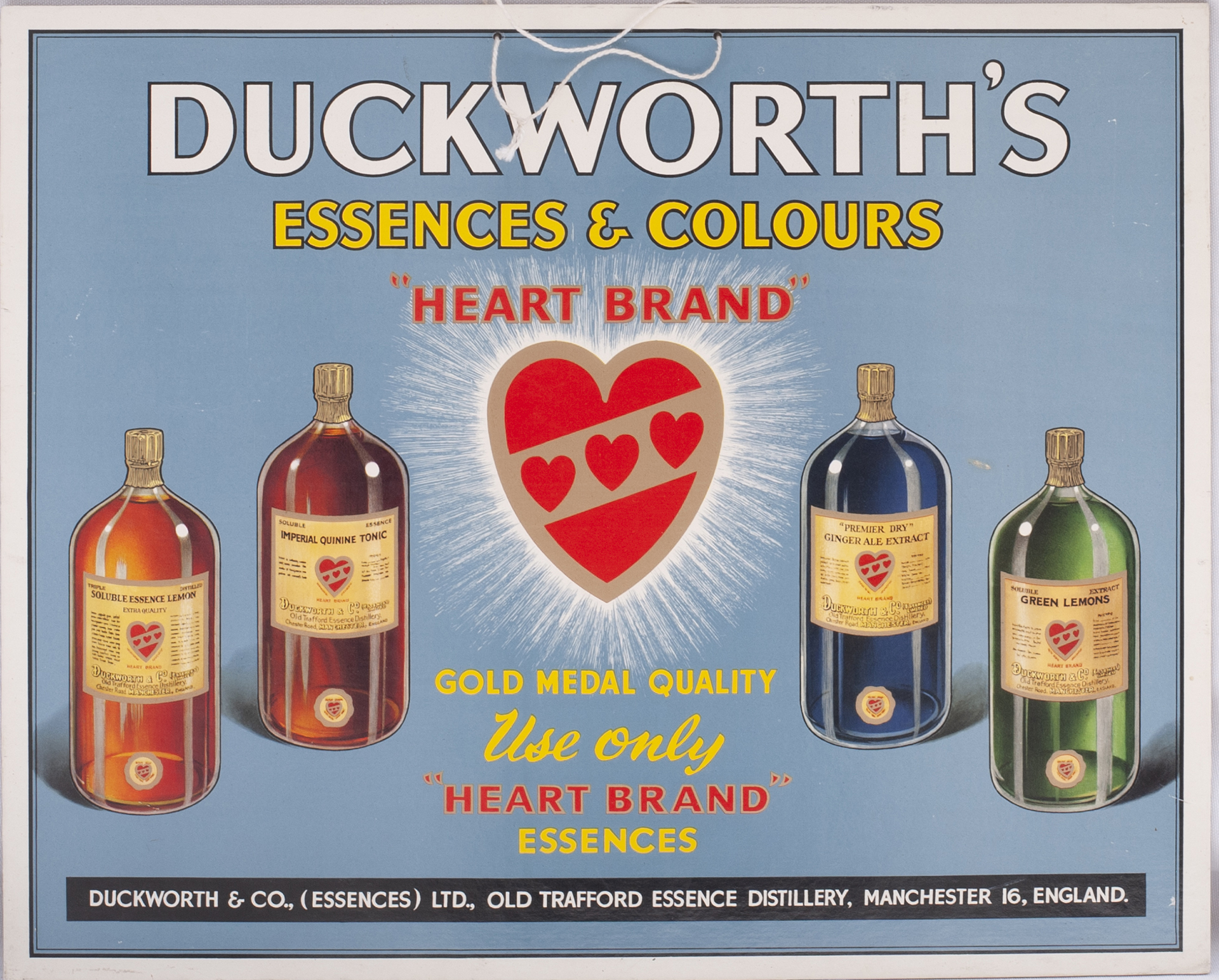 Advertising Show Card. DUCKWORTHS ESSENCES & COLOURS. OLD TRAFFORD MANCHESTER. Measures 17.5 in x