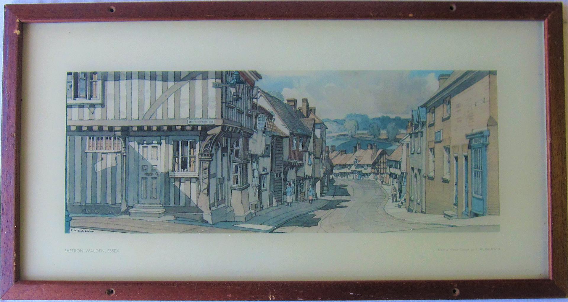 Framed & Glazed Carriage Print. SAFFFON WALDEN by F Baldwin in original frame.