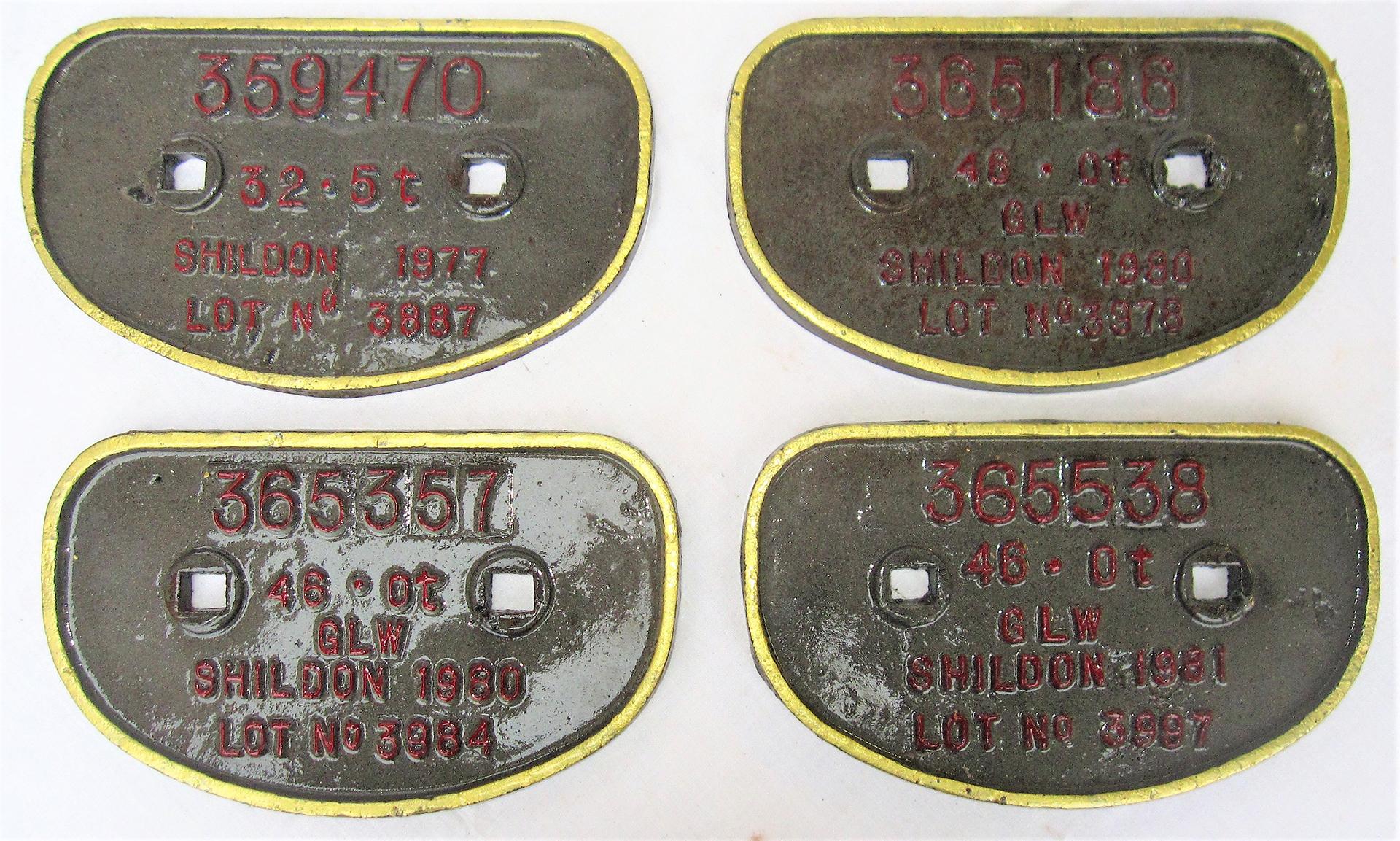 A lot containing 4 x Wagon D Plates ex SHILDON. 359470 32.5 Tons. 365357 46 Tons. 365186 46 Tons.