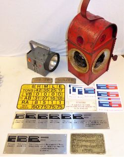 A collection of mainly modern railway items to include 9 x Bogie plates Type CP 11 ex class 47s. 2 x
