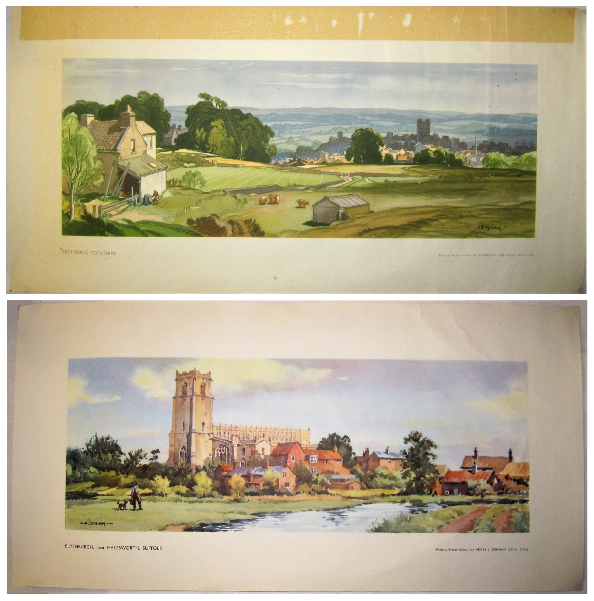 2 x Unframed carriage prints. RICHMOND YORKSHIRE by L Squirrell together with BLYTHBURGH SUFFOLK