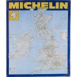 Screen Printed MICHELLIN Tin plate map of the United Kingdom. Measures 43in x 28.50 in in good