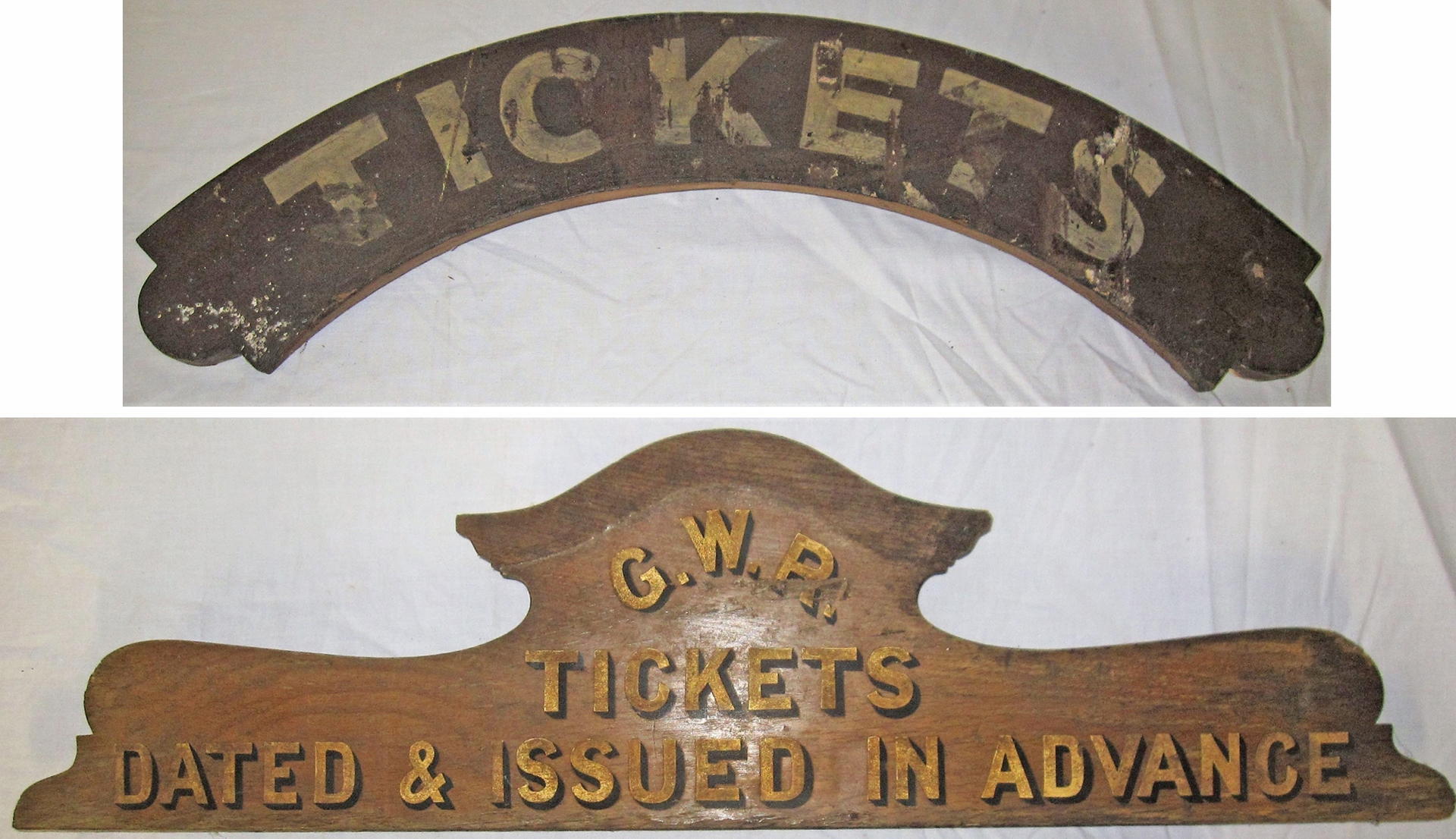 2 x wooden ticket office signs. TICKETS and GWR TICKETS DATED AND ISSUED IN ADVANCE written in