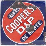 Enamel advertising sign. COOPERS DIP. Some chipping but highly restorable. Measures 20in x 20 in.