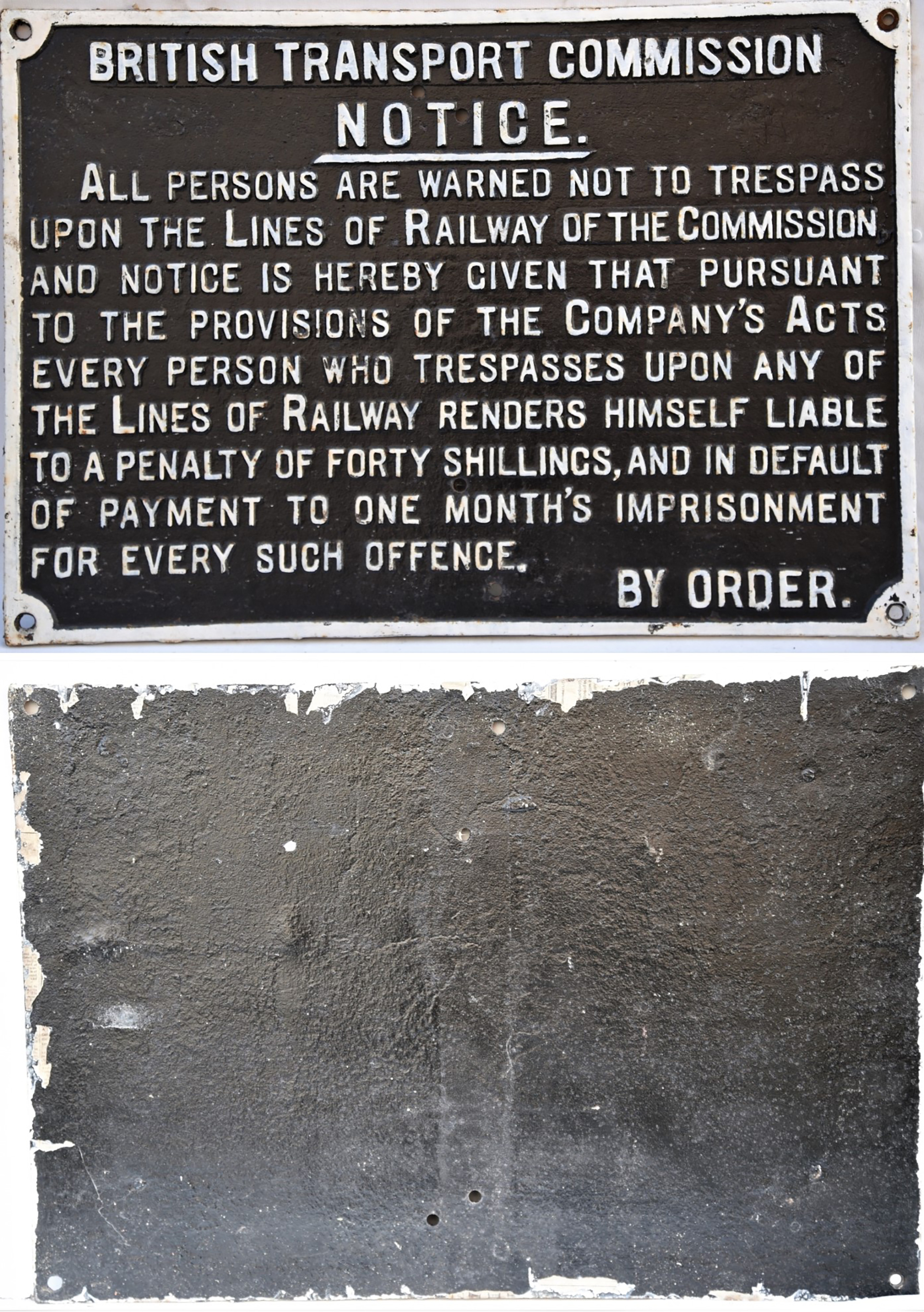 British Transport Commission cast iron notice. ALL PERSONS ARE WARNED NOT TO TRESPASS. Restored