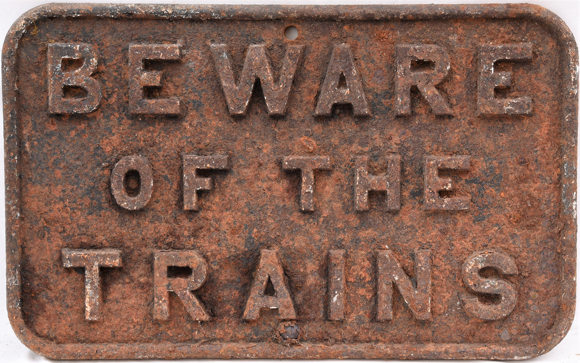 Cheshire Lines Committee cast iron sign. BEWARE OF THE TRAINS. Devoid of paint in original