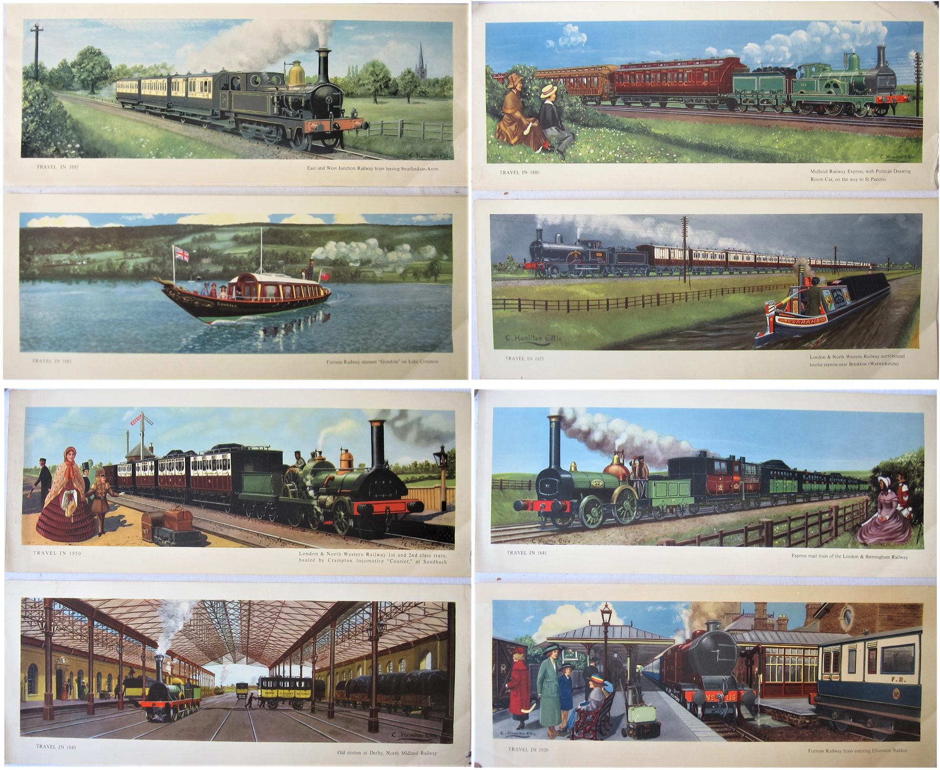 8 x unframed BR(M) Hamilton Ellis carriage prints. TRAVEL IN 1895, 1885, 1880, 1875, 1840, 1850,