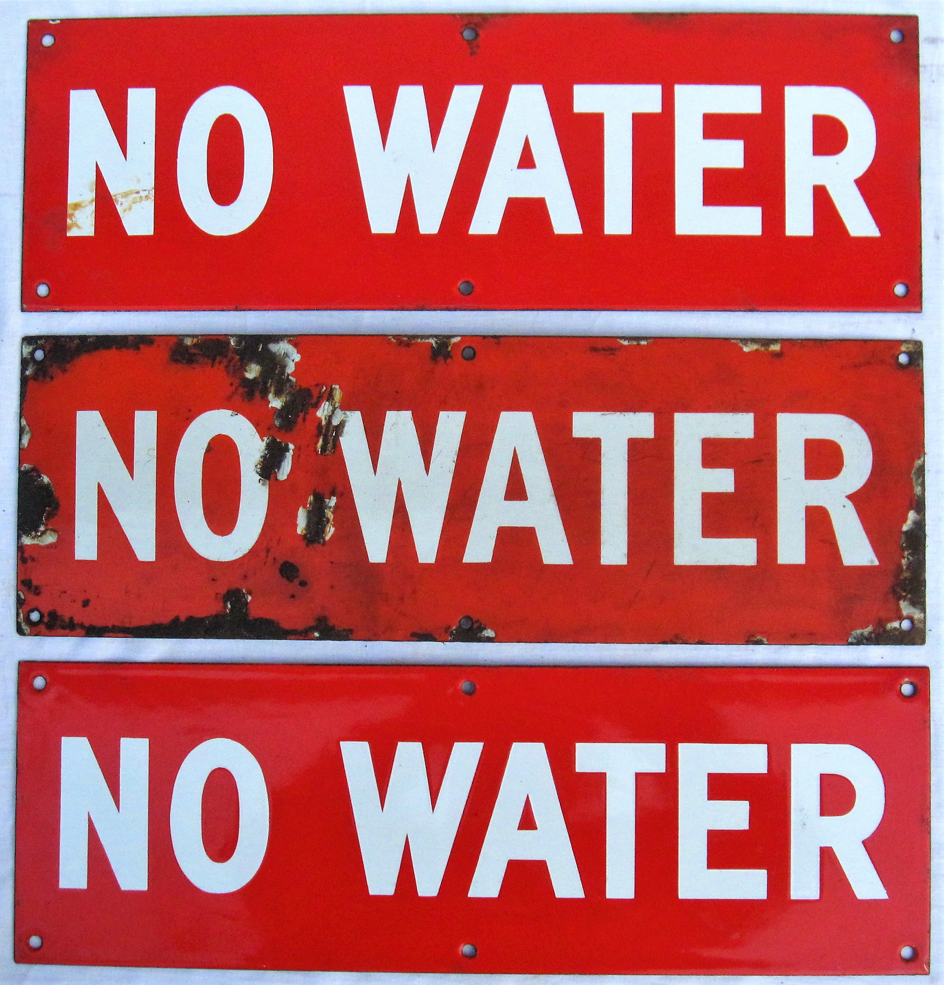 3 x enamel signs. NO WATER. Believed to be used at out stations without watering facilities.