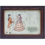 Framed & glazed advertising show card. PLAYERS WEIGHTS in original marked Players glazed frame.