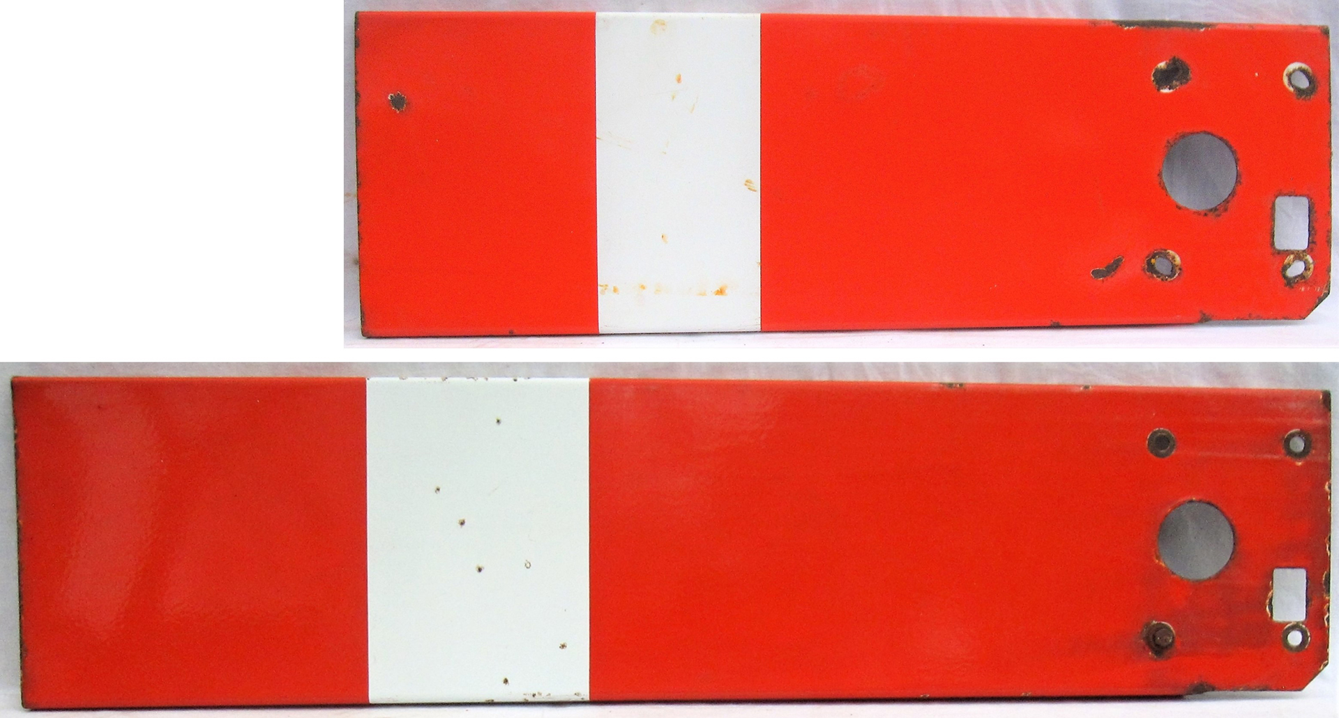2 x Lower quadrant enamel Signal Arms. BR(W) 3ft goods arm and BR(W) 4ft arm both in good original