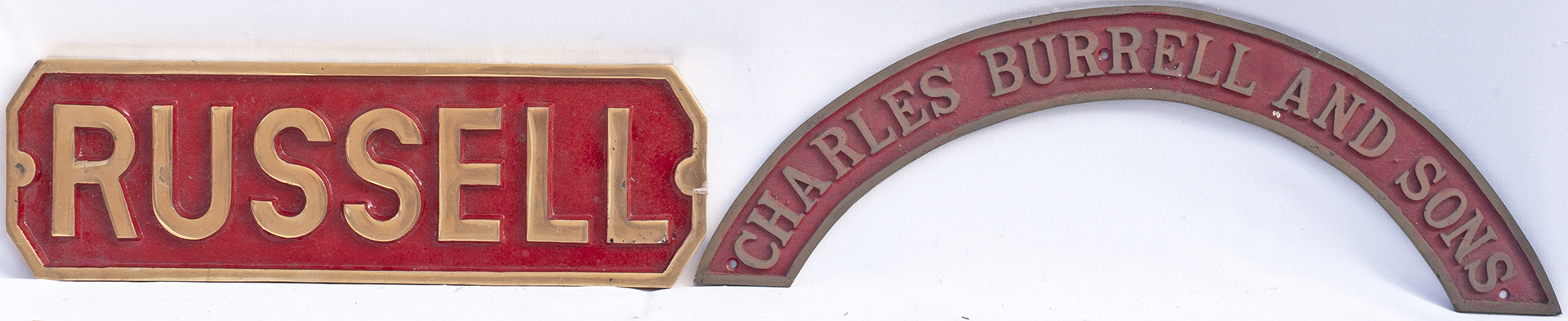 REPRODUCTION Brass Engine Nameplate. RUSSELL measuring 18.75 in x 6in together with a reproduction