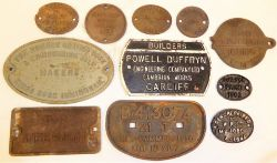 A collection of 11 x cast iron Gen Repaired and Wagon plates to include POWELL DUFFRYN BUILDERS