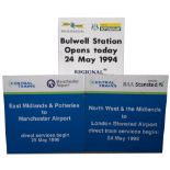 Station information boards. Bulwell Station Opening 1994, East Midland x 2 and North West & Midlands