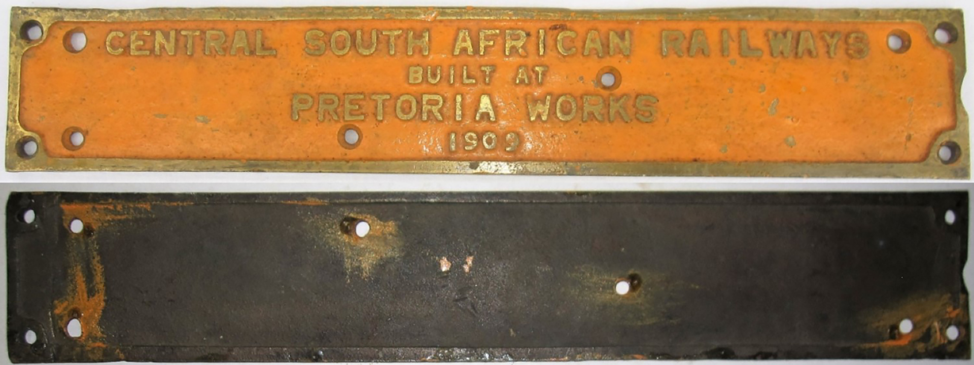 Central South African Railways brass works plate. BUILT AT PRETORIA WORKS 1909. Original condition.