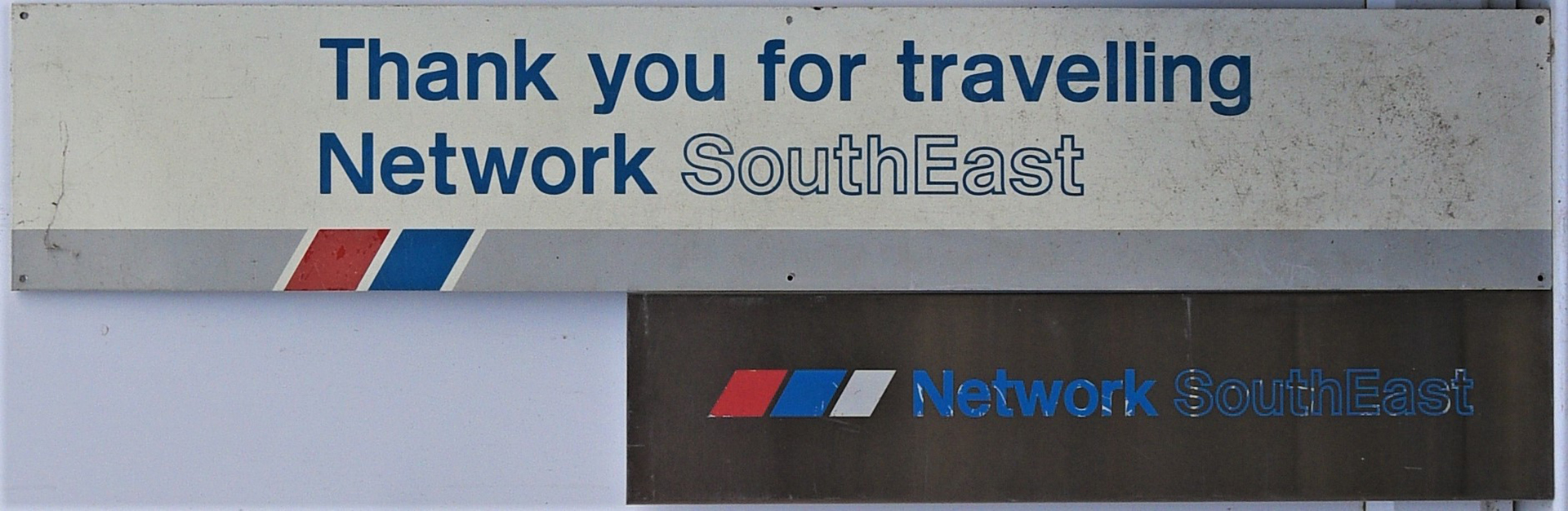 Network South East Stainless Steel Station Sign. THANK YOU FOR TRAVELLING NETWORK SOUTH EAST.