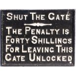 Cambrian Railway Cast Iron Gate Notice. Measures 16.5 in x 12.5 in.