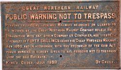 GNR Cast Iron Trespass sign. NOTICE to TRESPASSERS.
