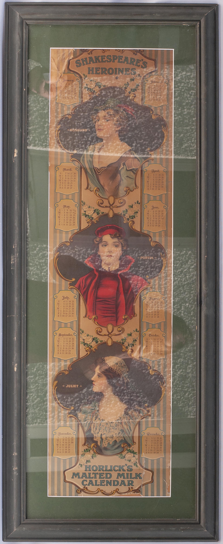 Framed and glazed advertising Poster. HORLICKS MALTED MILK CALENDAR. Measures 42in x 17in