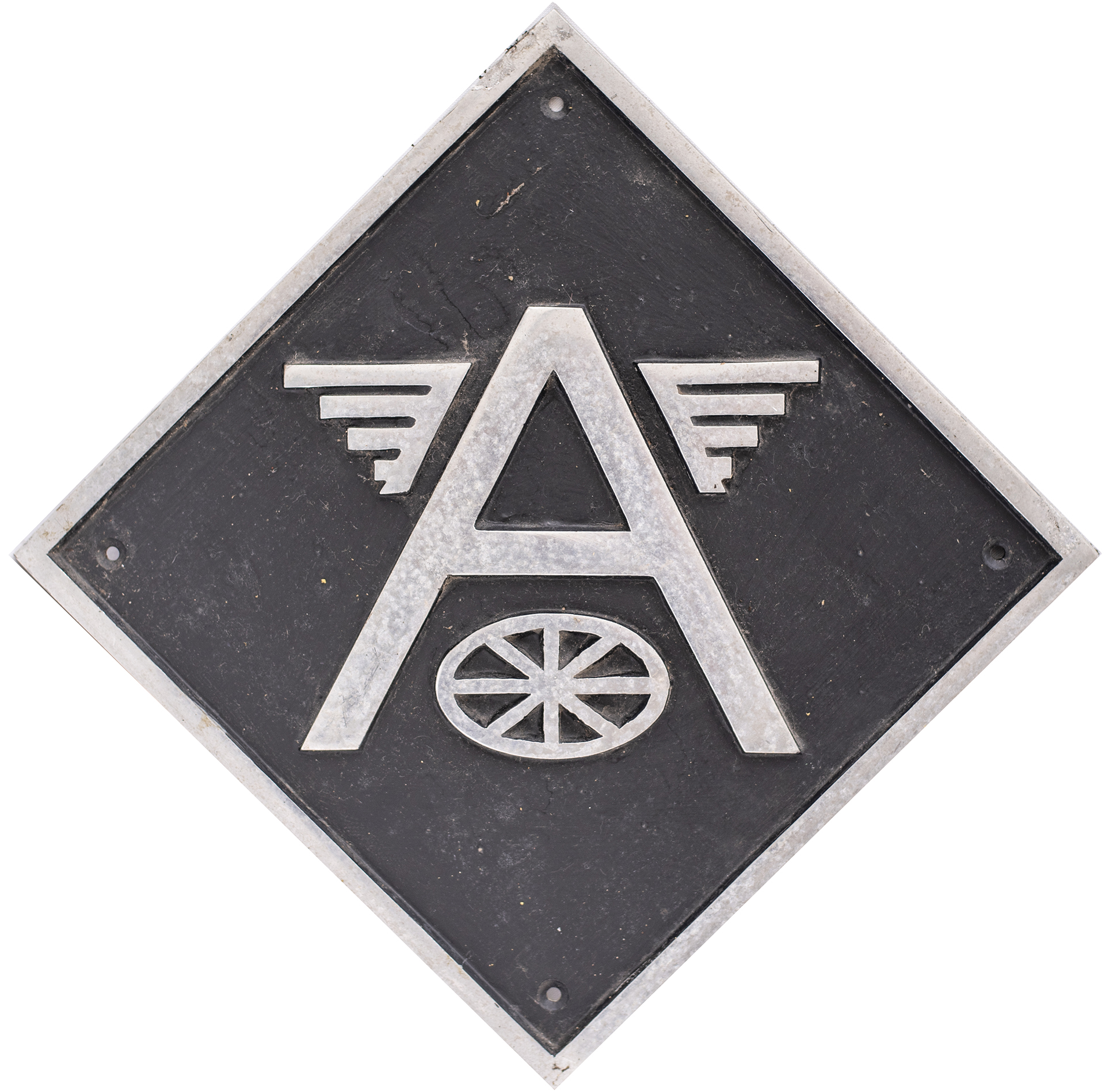 British Rail cast aluminium depot plaque for Allerton depicting the winged A. Square cast
