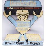 LAMBRETTA DEALER SIGN. Manufactured in hardboard in original condition. Measures 18.5 in x 21in.