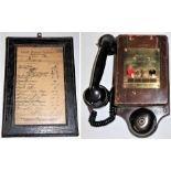 Western Region Two button telephone together with a GWR telephone circuit card in GWR frame. Both