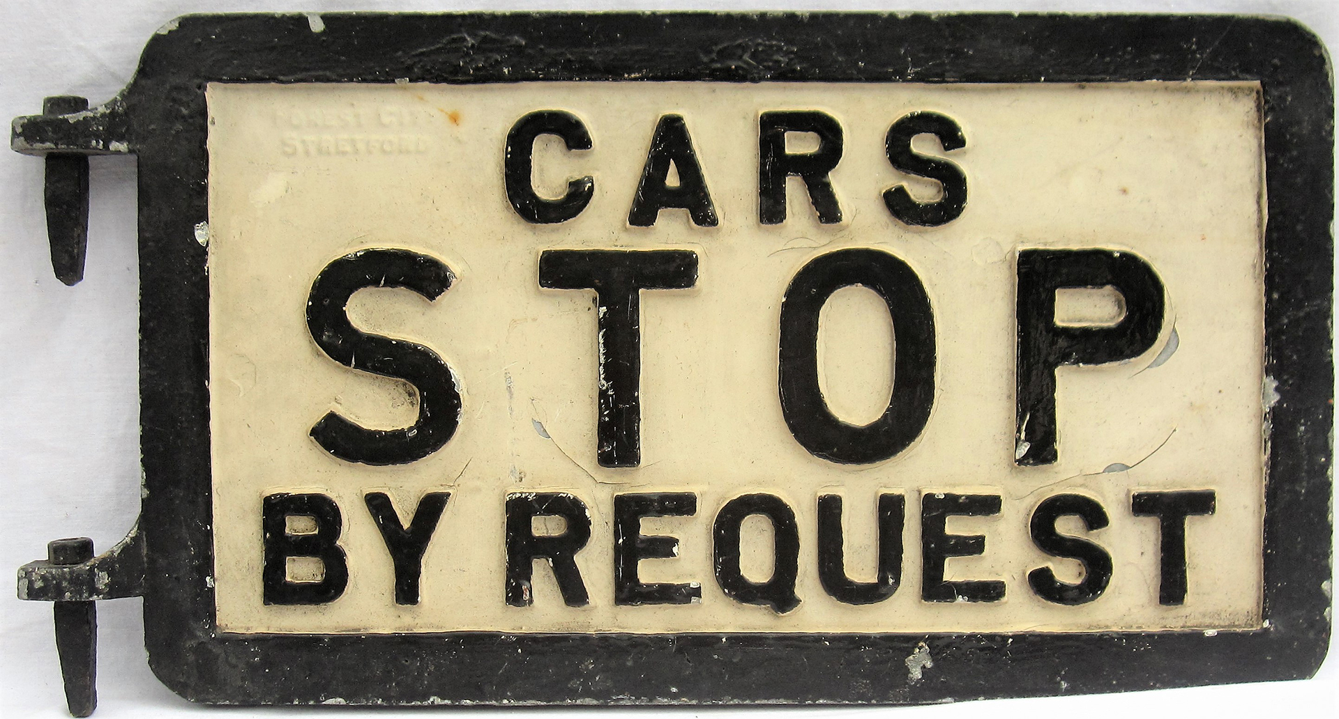 Double sided aluminium hinged Tram Sign. CARS STOP BY REQUEST. Ex Sheffield Tram cars. Measures 21.