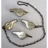A lot containing 4 x Acme Thunderer Guards Whistles. Stamped on side G.W.R Signal Dept complete with
