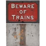 Midland Railway cast iron sign. BEWARE OF TRAINS. Original condition. Measures 22.5 in x 15in.